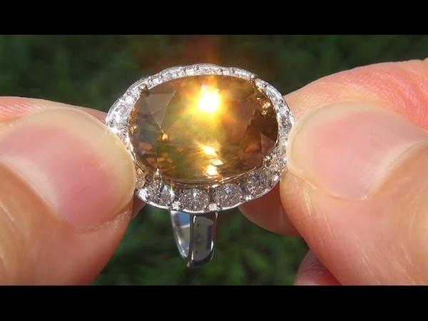 GIA Certified Natural Yellow Zircon Diamond 14k Gold Vintage Ring GEM - A131595