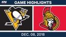 NHL Highlights Penguins vs Senators Dec 8 2018