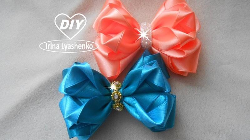 Пышный бант из ленты / МК / DIY Beautiful Ribbon Bow / Bow tutorial /PAP Laço exuberante198