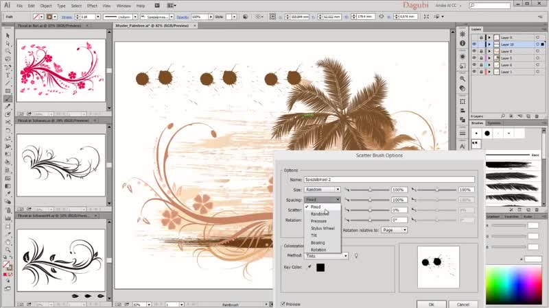 Illustrator Tutorial - Tropical Drawing with Palms, Floral, Swirl, Bird, Butterfly