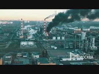 Вид с квадрокоптера на здание Московского нефтеперерабатывающего завода (МНПЗ), в котором произошел пожар.