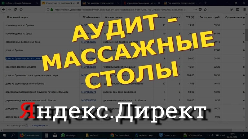 Аудит яндекс директ по массажным столам - от Алексея Донского.