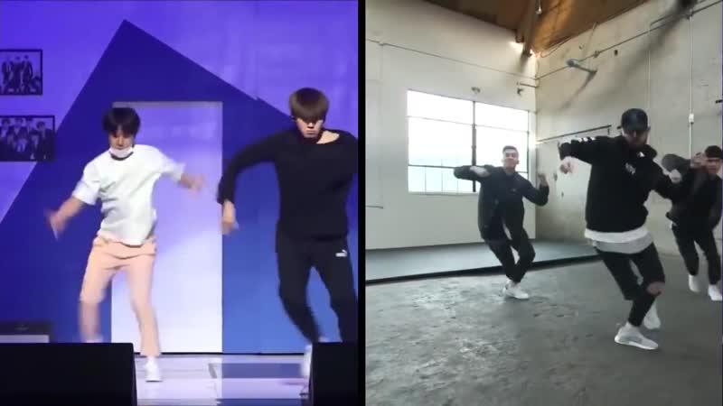BTS Jungkook Dance practice (ft. Jhope Jimin) Vs Original Choreo
