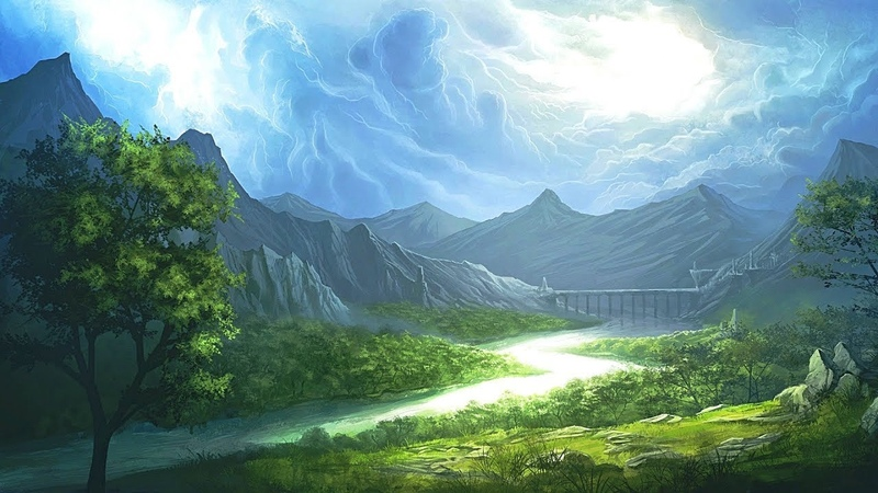 Fantasy Soundscape Background Music. Gentle Rain in the fantasy world.