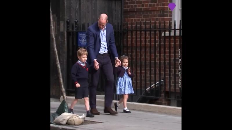 Принц Уильям с принцем Джорджем и принцессой Шарлоттой приехали познакомиться с младшим братом