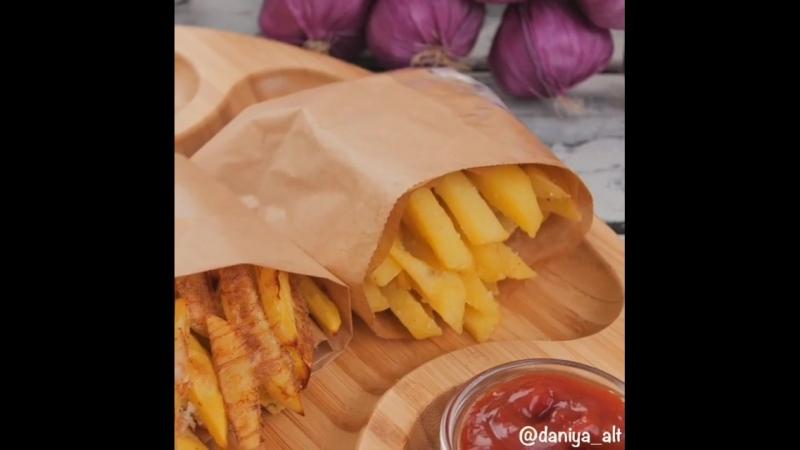 картофель фри, запечённый вариант и жареный🍟
