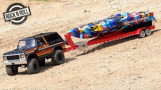 "1979 Ford Bronco Launches 2018 Speed Boat - Traxxas TRX4 & ""Rock n Roll"" Spartan 
