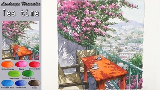A sunny day:Tea time - Drawing Landscape watercolor (wet-in-wet. Arches)NAMIL ART