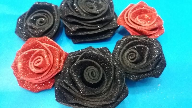 DIY foam sheet roses /quick and easy roses /Foam Sheet Craft / glitter roses craft/part2
