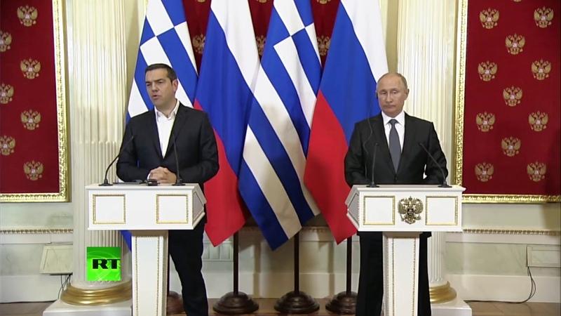 07.12.2018 Владимир Путин и Алексис Ципрас проводят пресс-конференцию