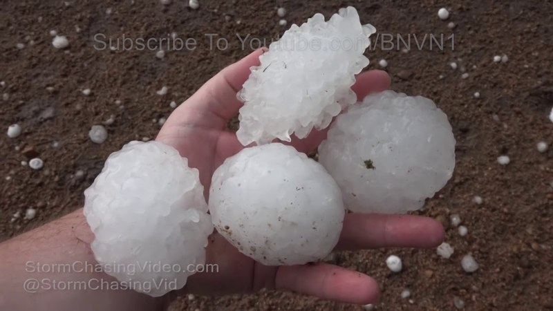 Kiowa County KS Giant Three Inch Hail Stones 5 13 2018