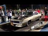 The Megalodon procharged Camaro vs Wiley's blown truck at Orangeburg no prep kings