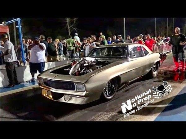 The Megalodon procharged Camaro vs Wileys blown truck at Orangeburg no prep kings