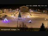 Дрифтер сломал новогодние ворота в Петрозаводске