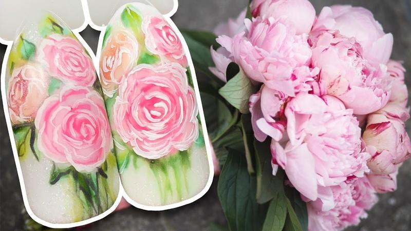 🌸 Свадебный Букет из Пионов 🌸 Цветочный дизайн гель лаком для ногтей к Свадебному Маникюру Patrisa