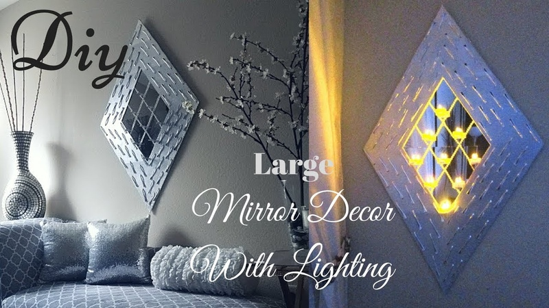 Diy Large Wall Mirror Lighting Decor Using Dollar Tree Items! | Inexpensive Wall Decorating Idea!