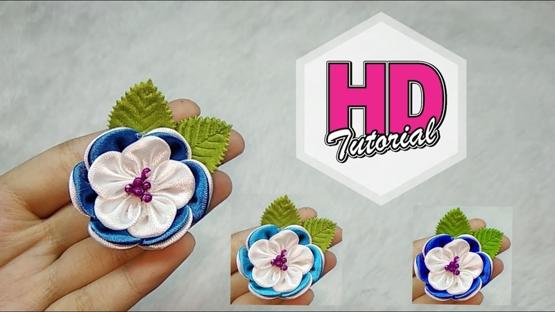 DIY - Cara Membuat Bros || Tutorial Simple Kanzashi Flower || Satin Ribbon Flower || HD Tutorial