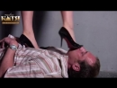 Mistress Katja trample black heels and barefoot