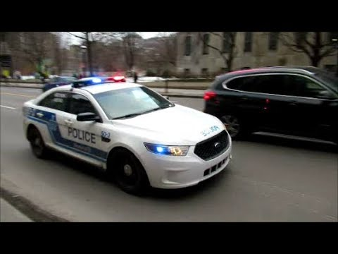 MONTREAL SPVM POLICE STM TRANSIT COPS RESPONDING DOWNTOWN - 12-01-18