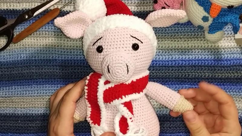 Свинка новогодняя. свинка амигуруми. мк с описанием