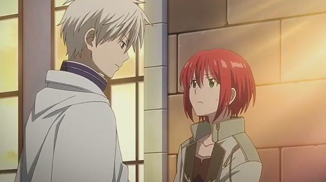 Момент из аниме Красноволосая принцесса Белоснежка (Akagami no Shirayukihime)