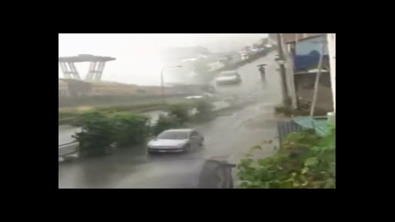 Moment où le pont d'Italie s'effondre, le pont de Morandi 14.08.2018