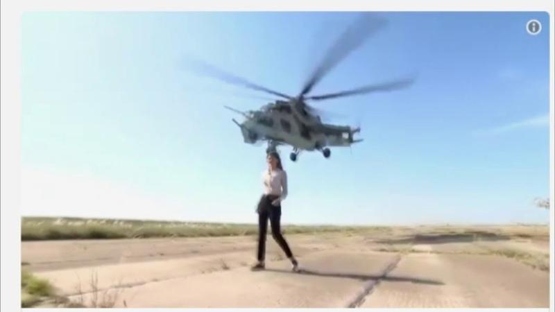 Низколетящий Ми-24 «поработал парикмахером» для журналистки