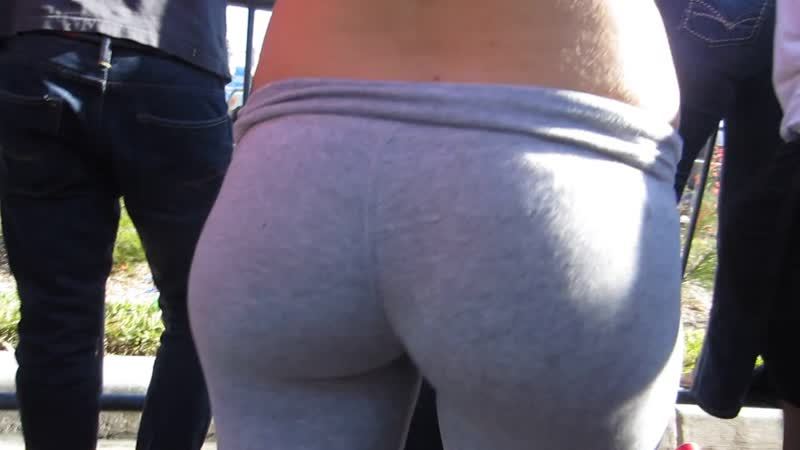 Tight ass grey leggings closeup