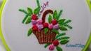 Hand Embroidery Bullion Rose Basket Bordados a mano Cesta de Rosas en Punto Rococó Artesd'Olga