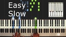 Aha - Take On Me - Piano Tutorial Easy SLOW - How To Play (Synthesia)