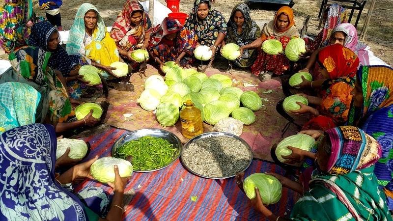 Cabbage, Shrimp, Potato Bori Mashed Prepared By 20 Women - Healthy Tasty Village Food Recipe