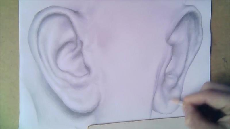 Как нарисовать реалистичное ухо простым карандашом поэтапно шаг за шагом быстро и легко используя штриховку тушевку и растушевку