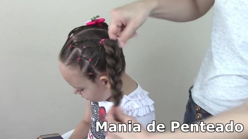 Penteado Infantil com ligas, flor trançada e Maria Chiquinha