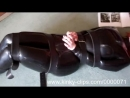 Latex Catsuit Tight Leather Straps and a Thin Latex BP Hood - HardSexTube