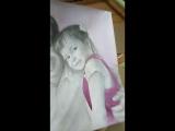 Семейный портрет в карандаше с добавлением акварели. Графика.