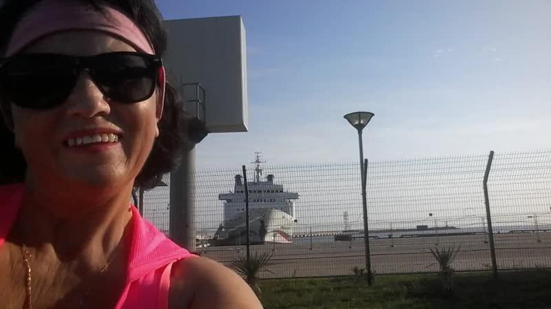 Сочи море и белый пароход с продукцией Greenway