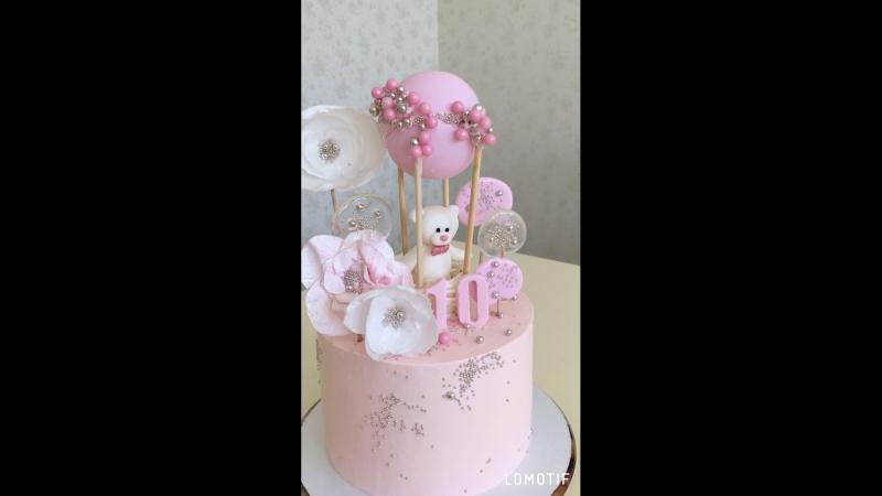 Нежный торт для девочки💗