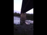 Мост через р.Белую: трещины на опоре моста с метками.