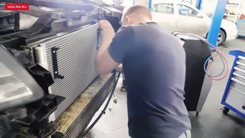 Замена радиатора кондиционера на Audi Q5 3.0 TDI 2009 г.в.