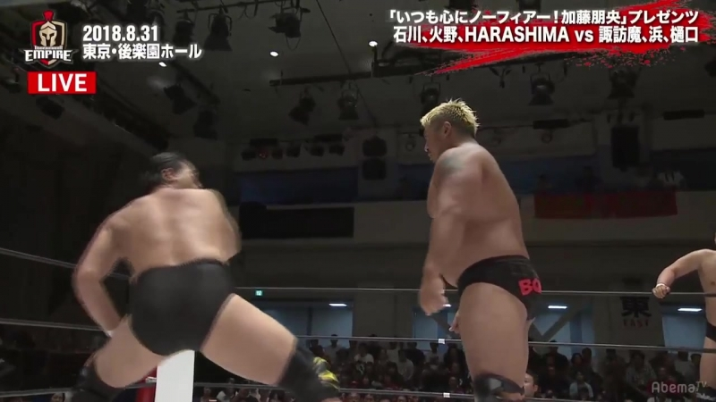 HARASHIMA, Shuji Ishikawa, Yuji Hino vs. Kazusada Higuchi, Ryota Hama, Suwama (TAKAYAMANIA Empire)