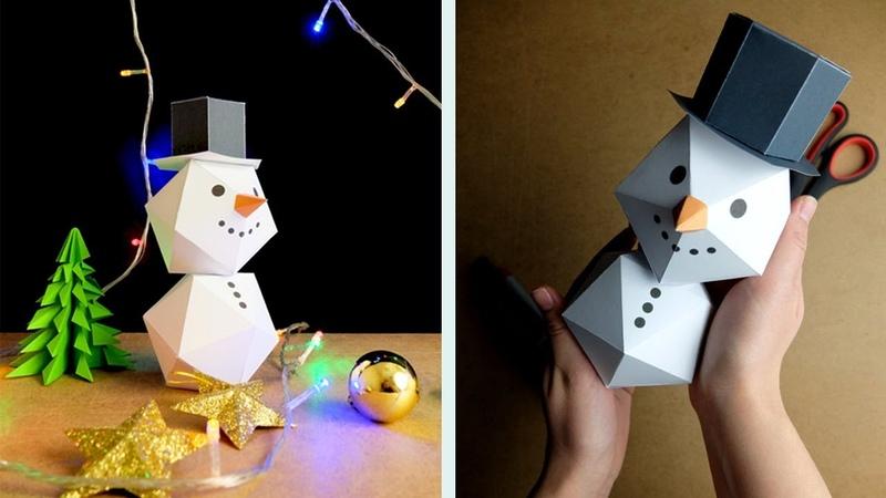 3D Снеговик из бумаги своими руками видео инструкция