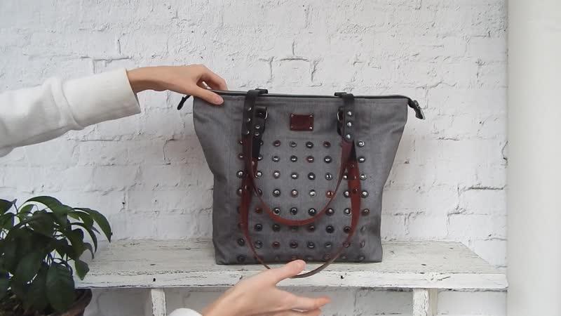 Обзор сумка-мешок с кожаными кружочками и клёпками