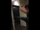 Lad tries kicking toilet door and falls on his arse