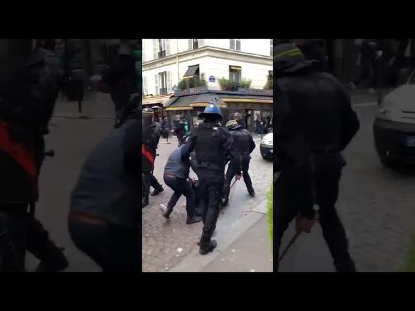 🔴Alerte VIOLENCES POLICIÈRES TABASSAGE GAZAGE Quartier Latin manif1ermai 01 04 2018