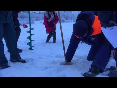 Подготовка к Крещению на Семеновском озере замерили толщину льда