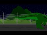 Капустозавр ходит по вольеру.