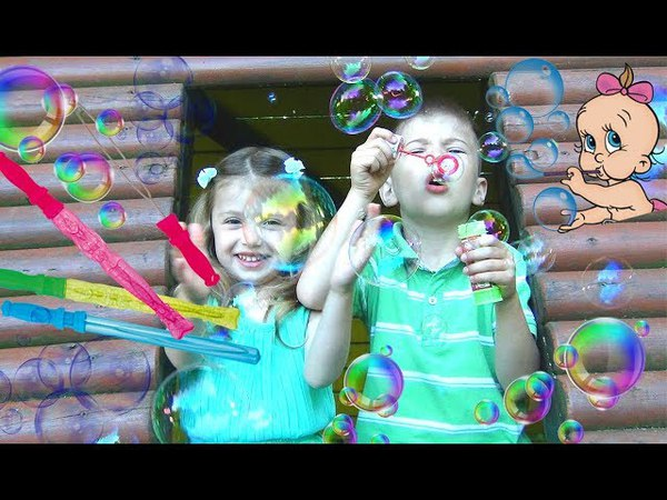 LEARN COLORS WITH BUBBLES for kids! Family Fun Dominika playtime with bubble toys