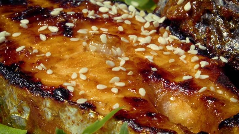 Лосось на гриле. Готовим стейк из лосося в соусе терияки