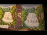 Подробный видео урок живописи гуашью. Рисуем водопад, горы и зеленые кустарники и деревья.