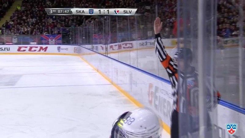 Моменты из матчей КХЛ сезона 14/15 • Удаление. Эрикссон Джимми (СКА) наказан малым штрафом за подножку. 28.01